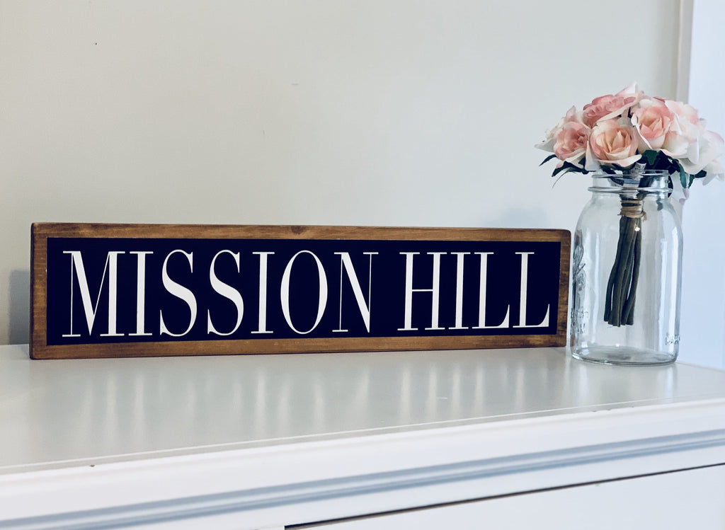 mission hill boston black white wood wall sign decor