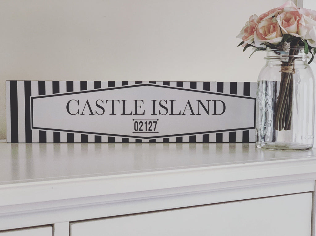 castle island south boston navy white wood wall sign