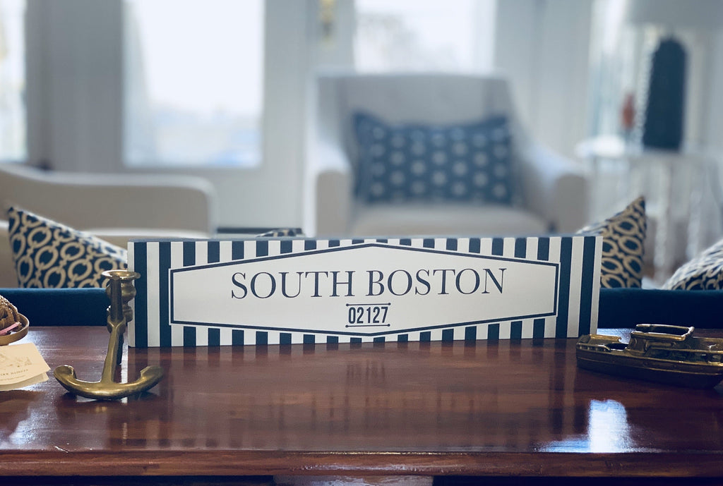 South Boston Wood Sign Blue White Preppy