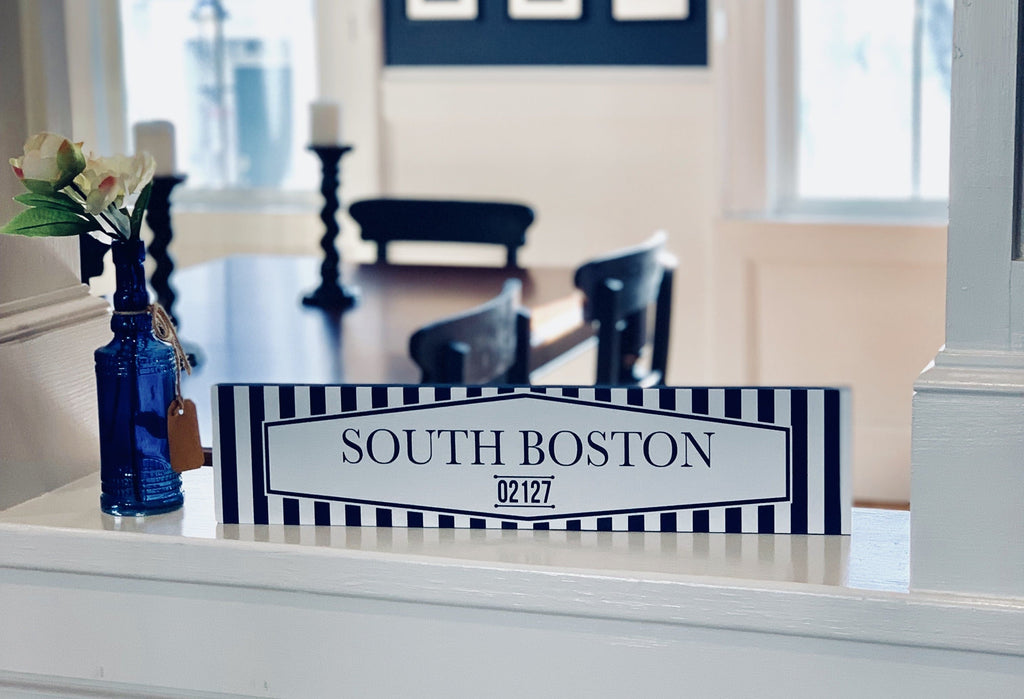 South Boston Blue White Wood Sign