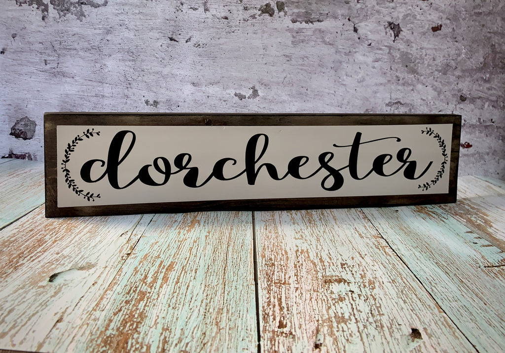 dorchester farmhouse gray white laurel wreath wood sign