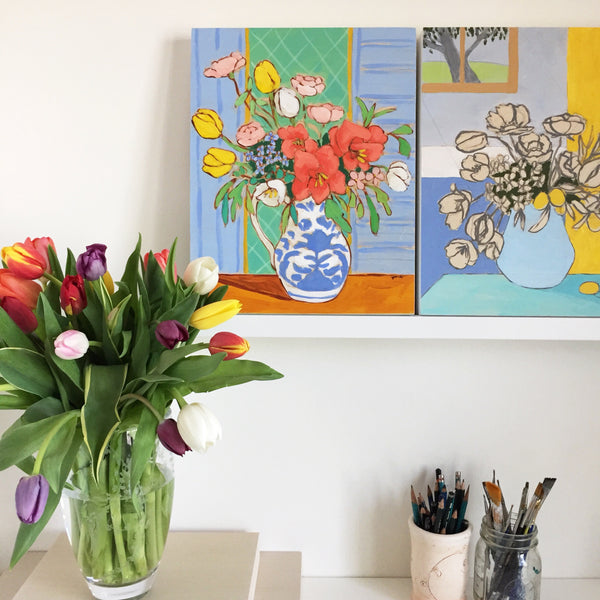 Flowers in Rooms painting collection by Jennifer Allevato