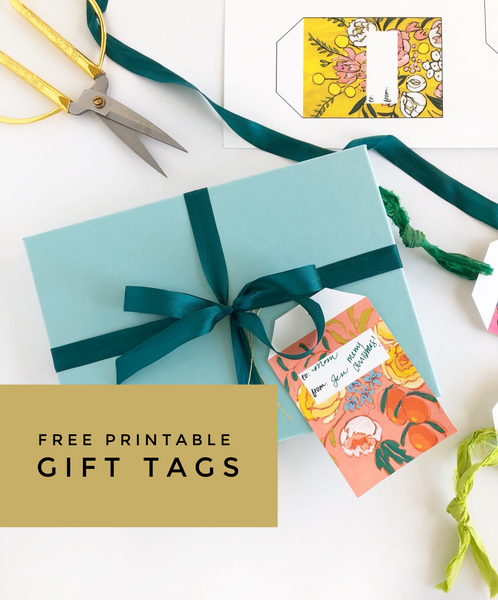 free printable floral gift tags from Jennifer Allevato Fine Art