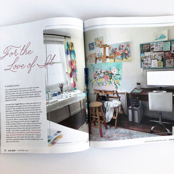 In her studio magazine Jennifer Allevato art feature winter 2019 issue