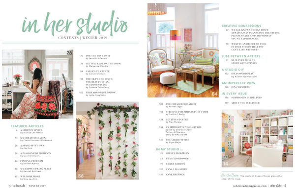 In Her Studio Magazine Winter 2019 Table of Contents