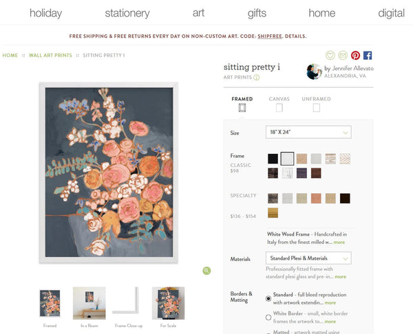 Jennifer Allevato art Minted print Sitting Pretty I floral