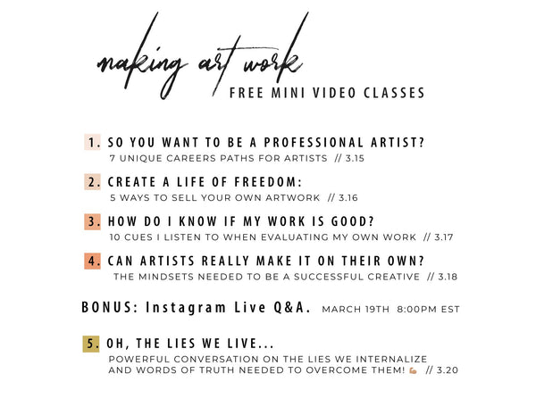 making art work mini course schedule