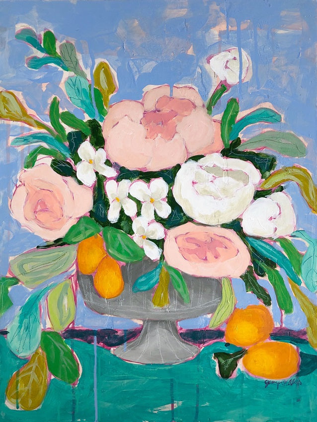 A Life Done Well floral still life painting by Jennifer Allevato fine art
