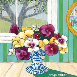 A Room for Flowers 10 floral pansies still life painting by Jennifer Allevato