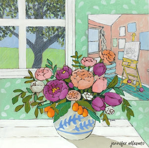 A Room for Flowers 15 floral still life painting by Jennifer Allevato