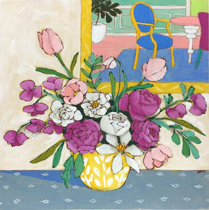 A Room for Flowers 16 floral still life painting by Jennifer Allevato