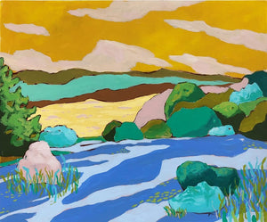 Alpine Lake Hill landscape painting by Jennifer Allevato
