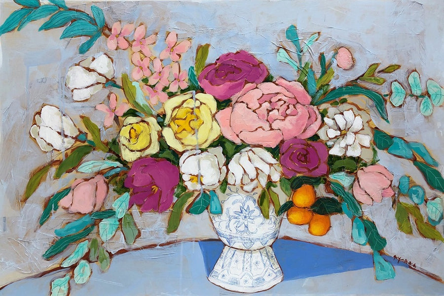 Bouquet of Hope floral still life painting by Jennifer Allevato Fine Art