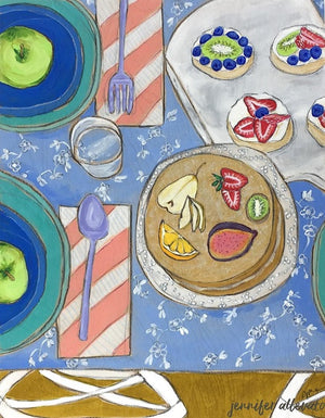 Cake and Tarts tablescape food still life painting by Jennifer Allevato