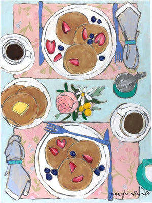 Coffee and Pancakes tablescape food still life painting by Jennifer Allevato