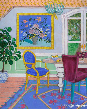 Dream Room 7 interior still life dining room painting by Jennifer Allevato