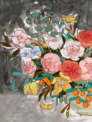 Jennifer Allevato painting Floral Variation 1 still life on paper