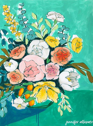 Jennifer Allevato art painting floral variation 3 still life on paper