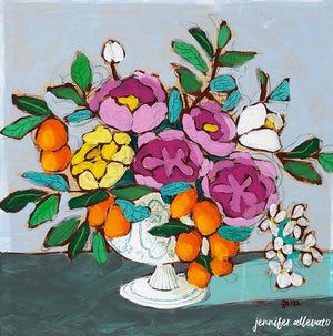 From a Table in Chantilly floral still life painting by Jennifer Allevato