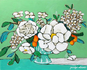 From a Table in Darlington floral still life painting by Jennifer Allevato