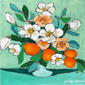 From a Table in New Orleans floral still life painting by Jennifer Allevato