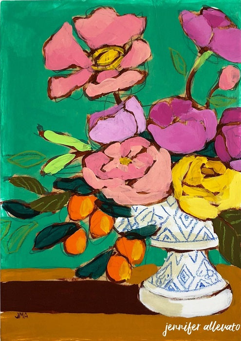 From a Table in Stars Hollow floral still life painting by Jennifer Allevato