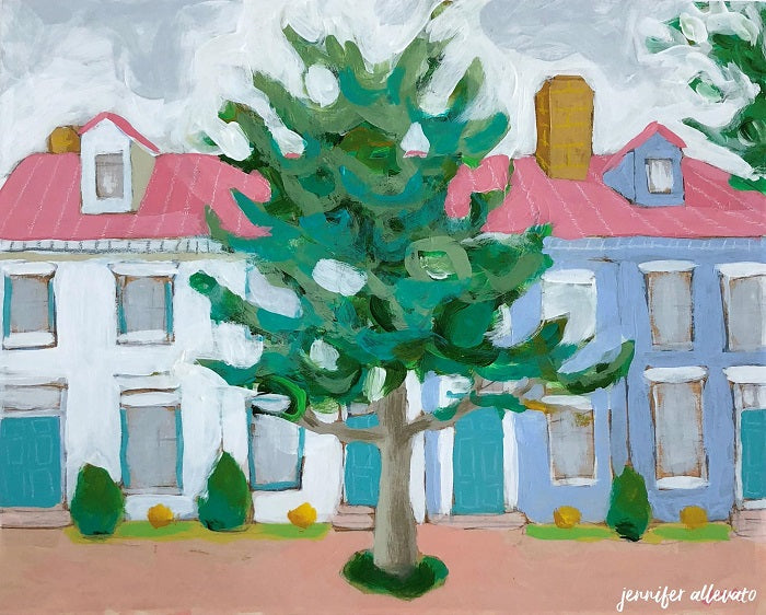 Hometown housescape painting by Jennifer Allevato