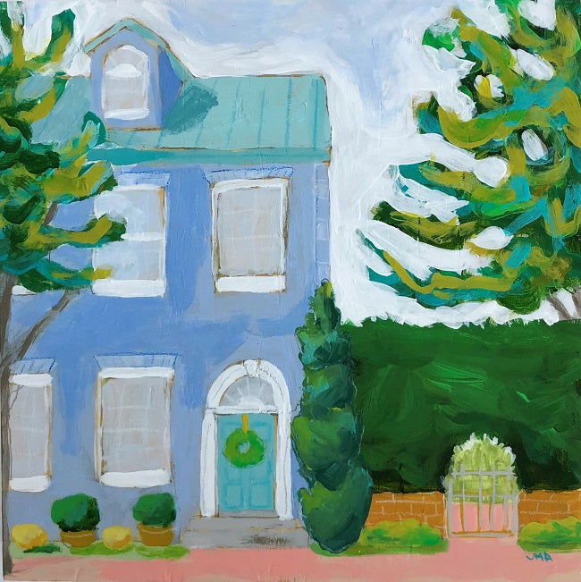 Homeward Bound house scape portrait painting by Jennifer Allevato art