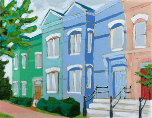 Honey I'm Home townhouse house scape painting by Jennifer Allevato art