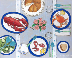 Lobster Crab and Prawns tablescape food still life painting by Jennifer Allevato