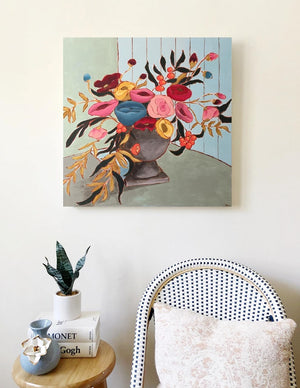 Memories of a Tuscan Table floral painting by Jennifer Allevato