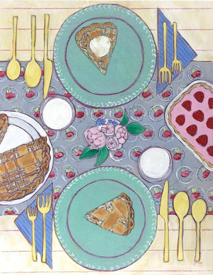 Pie and Milk tablescape food still life painting by Jennifer Allevato