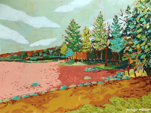 Pleasant Lake landscape painting by Jennifer Allevato