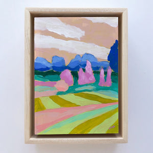 "Rainbow Landscape, 5""x7"" Painting (framed)"
