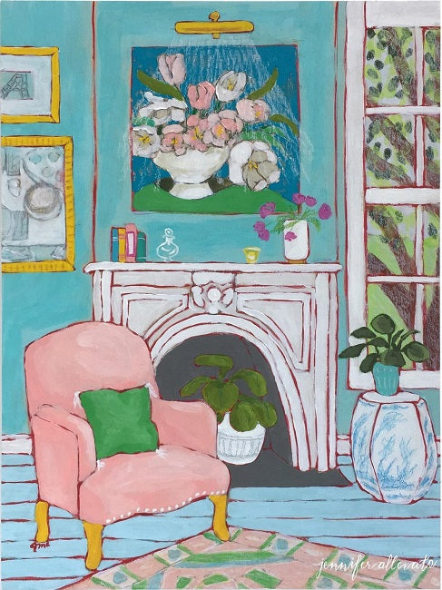 Seated 15 interior painting by Jennifer Allevato