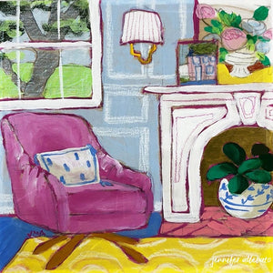 Seated 18 interior still life painting by Jennifer Allevato