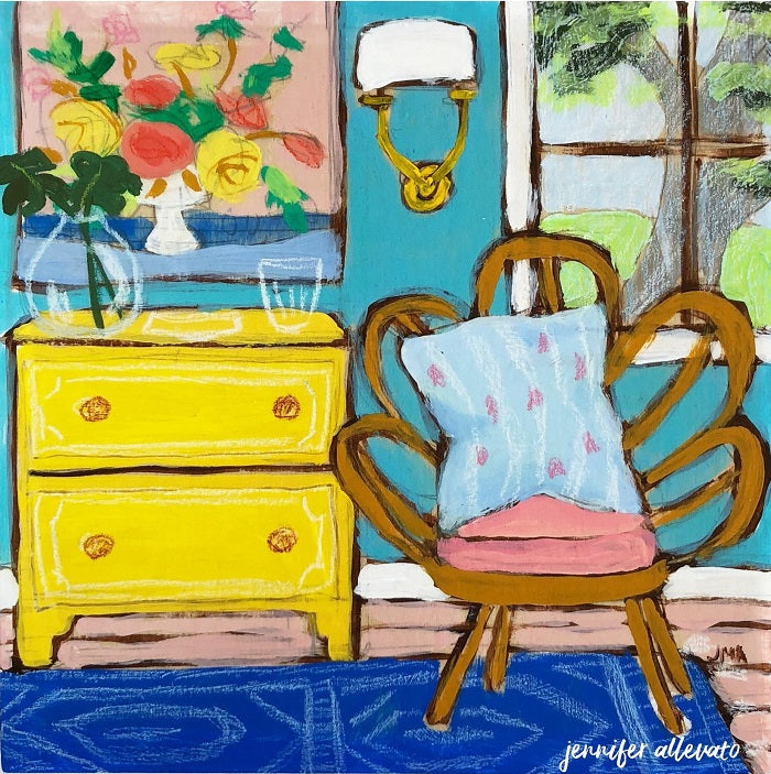 Seated 20 interior still life painting by Jennifer Allevato
