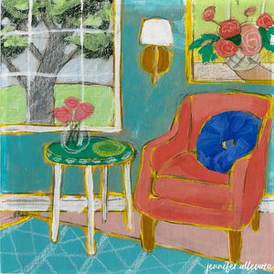 Seated 21 interior still life painting by Jennifer Allevato