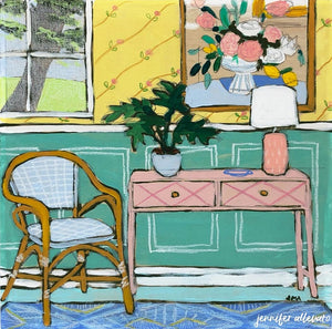 Seated 23 interior still life painting by Jennifer Allevato