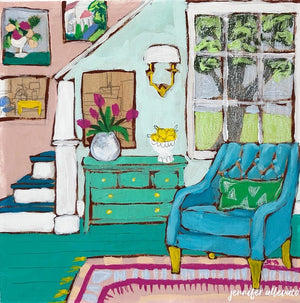 Seated 25 interior still life painting by Jennifer Allevato