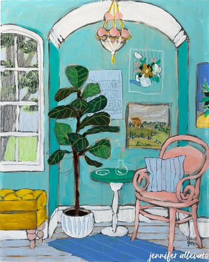 Seated 26 interior still life painting by Jennifer Allevato