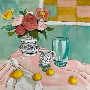 still life with a green vase painting by Jennifer Allevato fine art