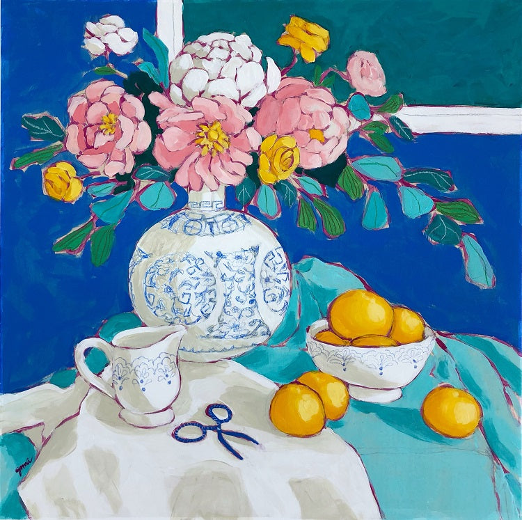 Still life with blue painting by Jennifer Allevato