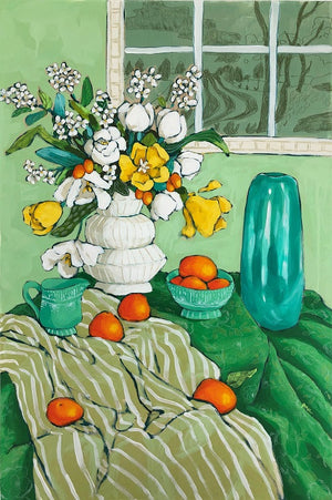 still life with green painting by jennifer allevato fine art