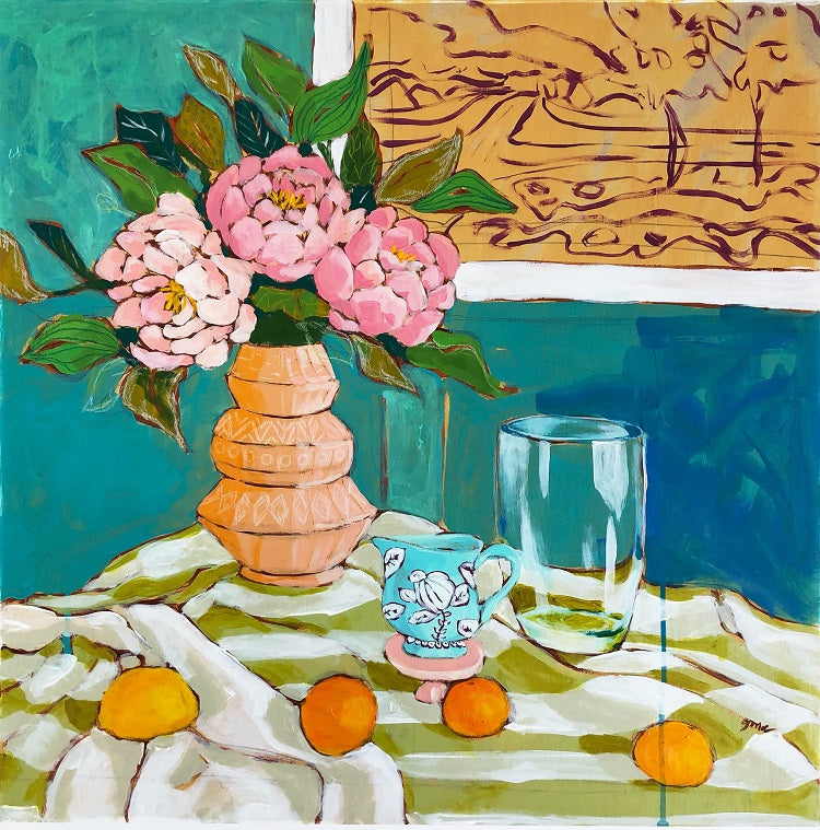 still life with peonies painting by jennifer allevato fine art