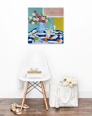 Still life with tulips painting by Jennifer Allevato Fine Art