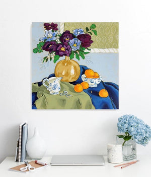 still life with violet painting by jennifer allevato fine art