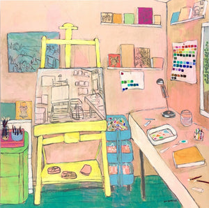 The Artists Studio V interior still life painting by Jennifer Allevato