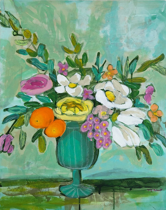 We Went Antiquing floral still life painting by Jennifer Allevato Fine Art