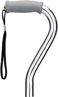 Nova Heavy Duty Offset Cane With Strap- Silver